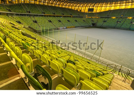 GDANSK, POLAND - FEBRUARY 4: Newly built PGE Arena stadium for 43,615 spectators. The stadium was built specifically for the Euro 2012 Championship. February 4, 2012 in Gdansk, Poland.