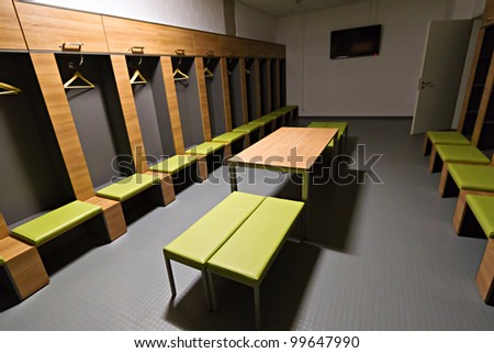 GDANSK, POLAND - FEBRUARY 4:  Players cloakroom of newly built PGE Arena stadium. The stadium was built specifically for the Euro 2012 Championship. February 4, 2012 in Gdansk, Poland.