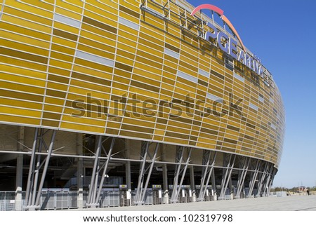 GDANSK, POLAND - MAY 01: PGE Arena is a newly built football stadium for Euro 2012 Championship. The stadium has the capacity of the stands for 43,615 spectators. May 01, 2012 in Gdansk