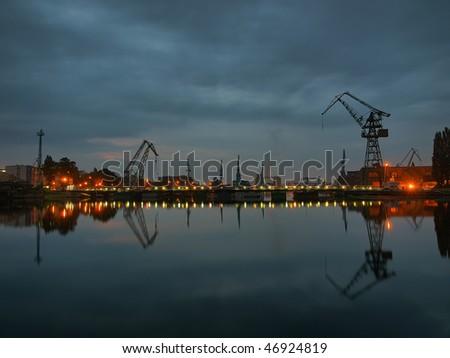 Gdansk shipyard at dawn, Poland.