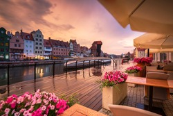 Gdansk with beautiful old town over Motlawa river at sunset, Poland