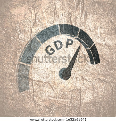 GDP - Gross Domestic Product progress. Scale with arrow. The measuring device icon. Sign tachometer, speedometer, indicators. Infographic gauge element.
