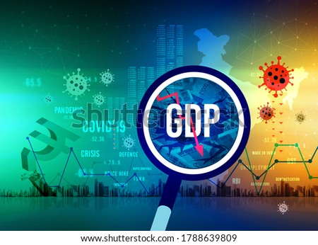 GDP growth downfall, Indian economic crisis in corona pandemic, slow down, economic crisis, unemployment, rupee downfall illustration, Indian rupee background, loss, rupee currency, India  Stockfoto ©