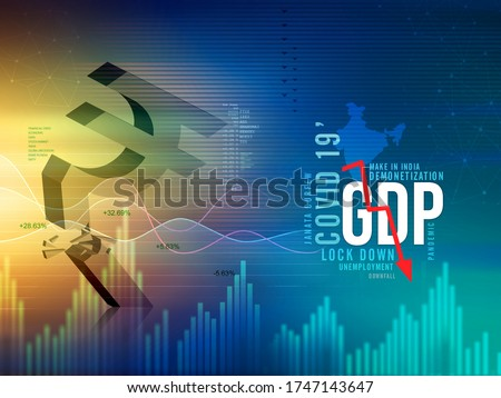 GDP growth downfall, slow down concept, India economic crisis, corona pandemic, unemployment,  rupee downfall illustration, Indian rupee background, loss, rupee currency, India recession Stockfoto ©