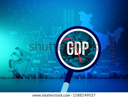 GDP growth downfall, slow down concept, India economic crisis, unemployment,  rupee downfall illustration, Indian rupee background, loss, rupee currency, India recession ストックフォト ©