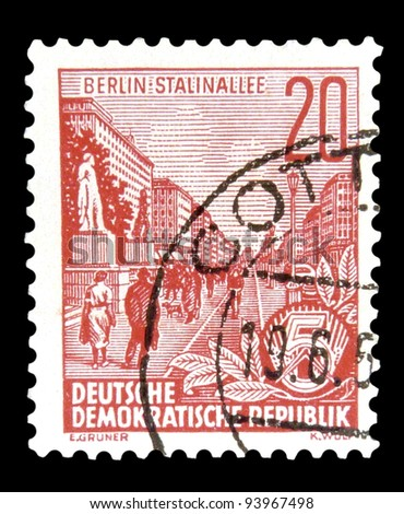 "GDR - CIRCA 1955: A stamp printed in GDR (German Democratic Republic - East Germany) shows Stalin Avenue with inscription ""Berlin, Stalin Avenue"", series ""Workers For The Five-year Plan"", circa 1955"