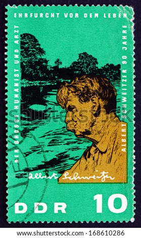 GDR - CIRCA 1965: a stamp printed in GDR shows Albert Schweitzer as Physician, Medical Missionary, founder of the Albert Schweitzer Hospital in Lambarene Gabon, circa 1965