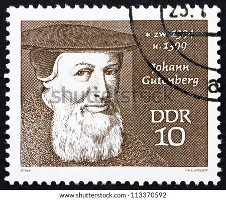 GDR - CIRCA 1970: a stamp printed in GDR shows Johann Gutenberg, Engraver, Inventor and Printer, circa 1970