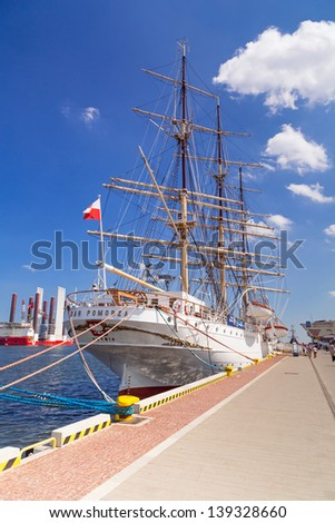 "GDYNIA, POLAND - MAY 19: Polish maritime museum ship ""Dar Pomorza"" at the Baltic Sea in Gdynia on 19 May 2013. This Polish sailing frigate was built in 1909 and served as a sail training ship."
