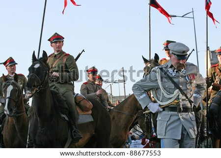 GDYNIA, POLAND - NOVEMBER 11: Historical polish soldiers parade  celebrating the 92nd Polish Independence Day on November 11,  2011 in Gdynia.
