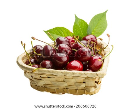 Gean - sweet cherry berries isolated on white - stock photo