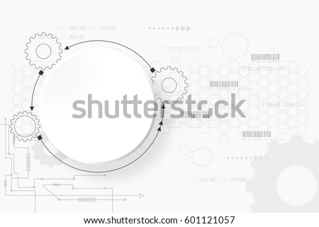 gear background technology engineering digital concept abstract illustration on white background