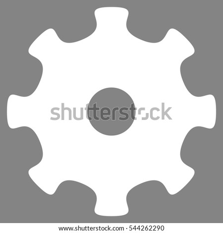Gear glyph pictogram. Style is flat graphic symbol, white color, gray background.