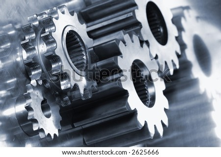 gear-machinery, assembly, against titanium, all in a bluish metallic tone