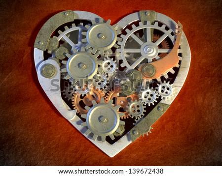 Gear mechanism creating an heart shape. Digital illustration.