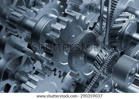 Gear metal wheels close-up. Industrial mechanism