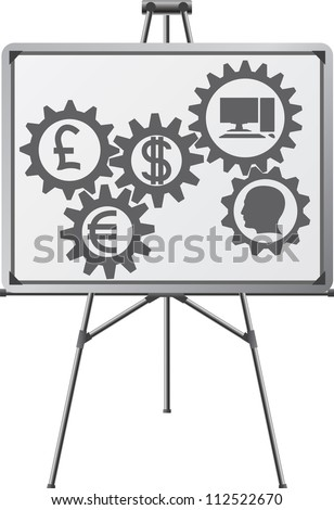 gear of business in easel. raster variant