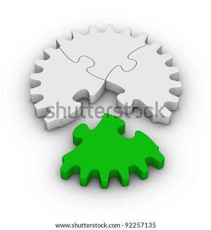 gear of jigsaw puzzles with one green piece