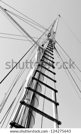 Gear old sailing ship on the background of an blue sky - Turku, Finland (black and white)