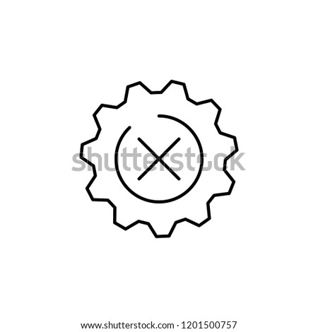 gear, setting, decline icon. Element of business start up icon for mobile concept and web apps. Thin line gear, setting, decline icon can be used for web and mobile