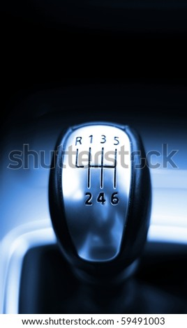 gear shift from a modern sports car in metal design