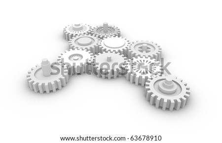 Gear system. 3d rendered image