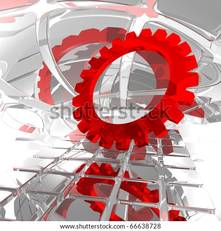 gear wheel in abstract space - 3d illustration