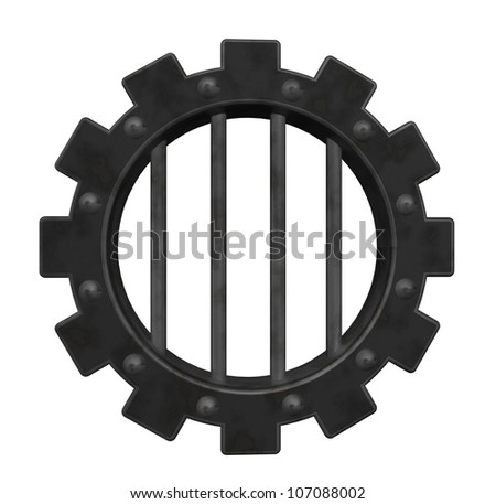 gear wheel prison window - 3d illustration