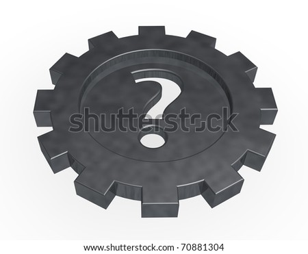 gear wheel with question mark on white background - 3d illustration