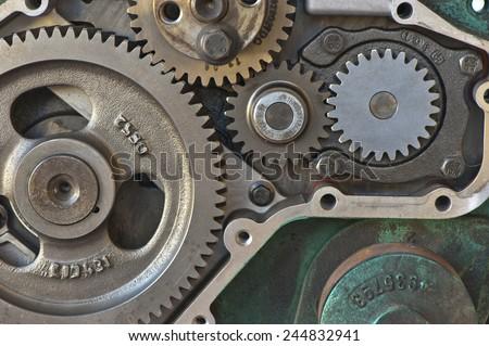 Gear wheels in the engine