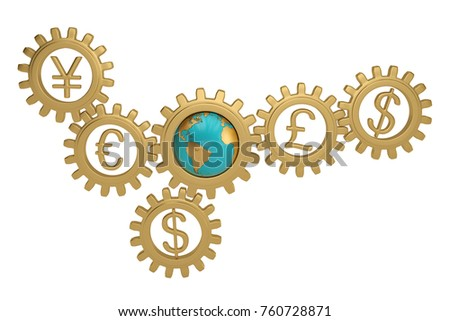 Stock Photo Gear with global currency and globe on white background. 3D illustration.