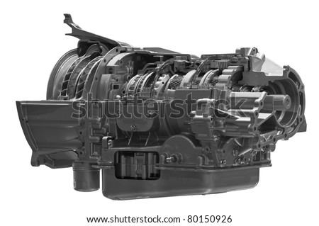 Gearbox. Crosscut of land vehicle transmission box isolated on white background. Clipping path included.