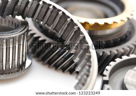 Gearbox parts isolated on  white background.