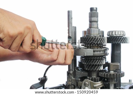 gearbox service work on isolated background