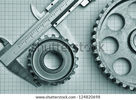 gears and caliper on graph paper