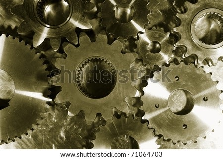 gears and cogwheels, duplex bronze toning, focal-point on lower parts
