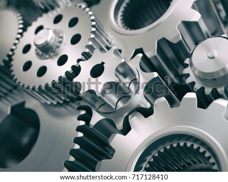 Gears and cogwheels engine  industrial background. 3d illustrartion.