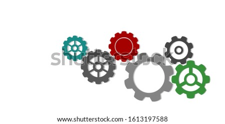 Gears and gears. Gear technology machine. Teamwork concept.