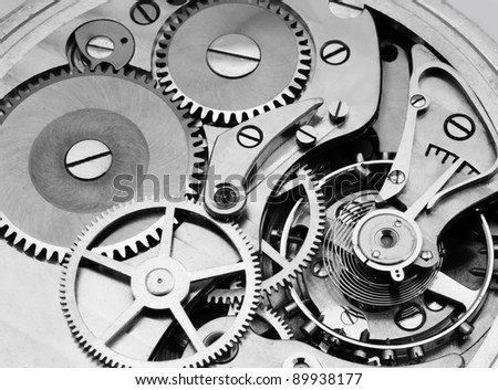 gears and mainspring in the mechanism of a pocket watch (pocketwatch)