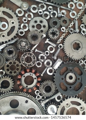Gears and mechanical parts background.