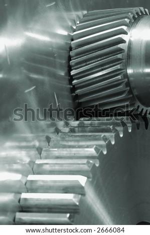 gears and titanium idea in a green metallic tone