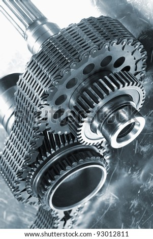 gears and wheels used in the aerospace industry, timing chain, blue toning concept
