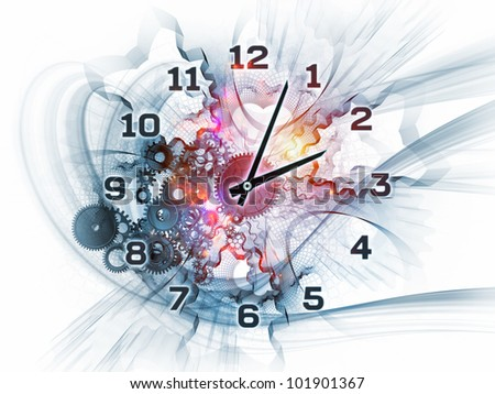 Gears, clock elements, dials and dynamic swirly lines arrangement suitable as a backdrop in projects on scheduling, temporal and time related processes, deadlines, progress, past, present and future