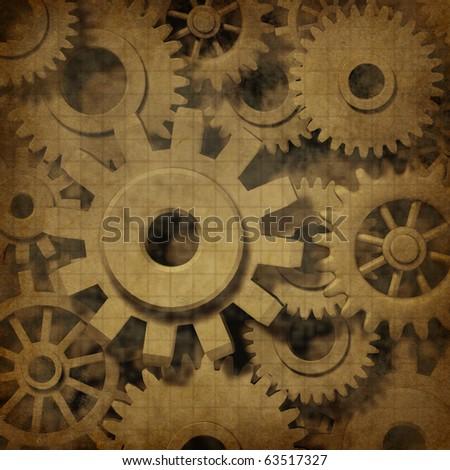 gears cogs ancient grunge old parchment document mechanics vintage paper