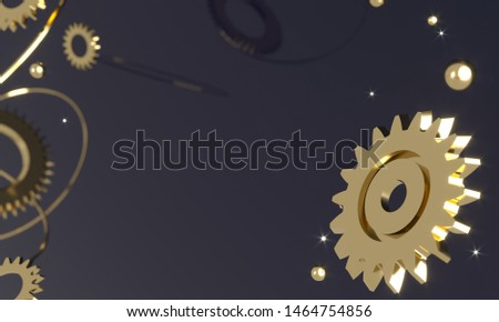 Gears, flying metal spheres and gold rings. Steampunk mechanism - 3d render illustration. Engine Mechanical Parts. Space futuristic retro dark background. Steam punk cogwheels components of clockwork