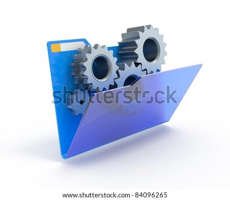 Gears in a blue folder. 3d illustration. Foto d'archivio ©