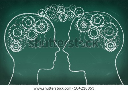 Gears in The Human Head drawing on the chalkboard, Thinking Communication Concept