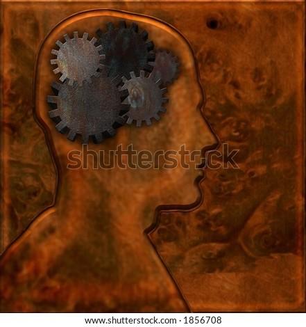 Gears inside head with mettalic background