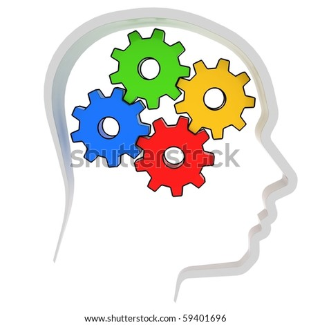 gears instead of brain in the human head