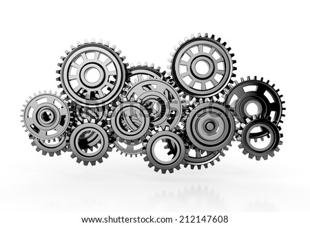 gears isolated on white background. 3d render